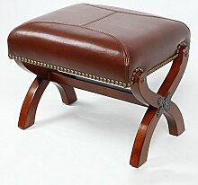 TangMengYun Europäischen Stil Retro Massivholz Hocker, Wohnzimmer kleine Stühle, Freizeit Stühle, Sofa Stühle, seine Schuhe Hocker, Dressing Hocker, Home Leder Hocker ändern
