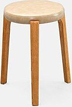 TangMengYun European Massivholz Kreativer kleiner Hocker, Home Dressing Hocker Mahlzeit Hocker Freizeit Hocker Kleiner runder Hocker -31 * 31 * 45cm ( Color : Beige , Size : 31*31*45cm )