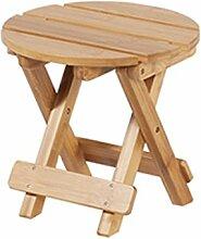 TangMengYun Moderne einfache Massivholz Hocker Falten leicht zu tragen Es gibt zwei Größen von Holz Farbe ( Farbe : Runden )