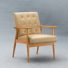 TangMengYun Nordic Creative Restaurant Massivholz Stuhl, Einfache Rückenlehne Single Sofa Stuhl Esszimmer Stuhl Lounge Stuhl Coffee Shop Hotel Hocker ( Color : Beige , Size : B-60*61*80CM )