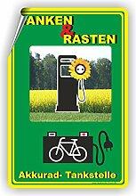 TANKEN UND RASTEN / E-RAD Tankstelle / Ladestation - SCHILD / D-073 (40x60cm Aufkleber)