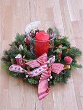 Tannenkranz Weihnachtskranz mit 80 Lichtern rot 40cm