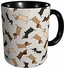 Tanzen Dackel (Sahne) Keramik Kaffeetasse 11 Gu