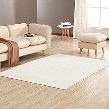 Tao Teppich-Wohnzimmer-rechteckiges Sofa-Nachttisch-Wolldecke-Schlafzimmer-dünne Boden-Matte mehrfache Farbe 63.0 * 90.6 Zoll (Farbe : Weiß)