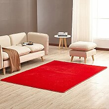 Tao Teppich-Wohnzimmer-rechteckiges Sofa-Nachttisch-Wolldecke-Schlafzimmer-dünne Boden-Matte mehrfache Farbe 63.0 * 90.6 Zoll (Farbe : Rot)