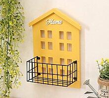 Tao Wandregal Regal Blumenregal Wanddekoration Schlafzimmer Wohnzimmer Kreative Eisen Holz Heimtextilien Muttertag Geschenk (Farbe : Gelb)