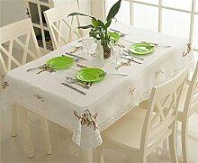 TaoMi- Im europäischen Stil Garten Tetabellentuch Kunst Leinenbaumwoll Stickerei runden Tisch / quadratischer Tisch / langen Tisch Tischdecken ( größe : 125cm*175cm )