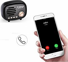 TAOtTAO Q108 Portable Retro Wireless Bluetooth Lautsprecher Sound Stereo Subwoofer (Schwarz)