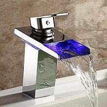 TAPCET Waschbeckenarmatur Wasserfall Waschtischarmaturen Profi Wasserhahn Mixer Tap Glas Armatur Silber für Bad Badenzimmer Waschbecken