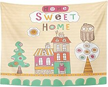 Tapestry Colorful Sweet Landscape with House and