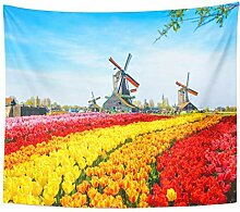 Tapestry Landscape with Tulips Traditional Dutch
