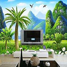 Tapete 3D 300X210cm Landschaft Mit Kokospalmen