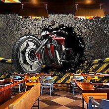 Tapete 3D 300X210cm Motorrad Mit Gebrochener Wand