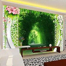 Tapete 3D Baumallee Landschaft Hintergrund Wand