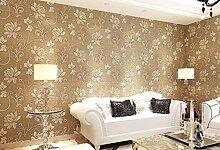 Tapete 3D Braune Blume Muster Wohnzimmer,