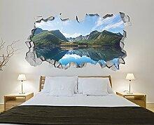 Tapete 3D Effekt (130 x 72 cm, Tapete See Berge