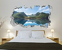 Tapete 3D Effekt (233 x 130 cm, Tapete See Berge