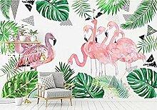 Tapete 3D Flamingo mit grünen Blättern Wandbild