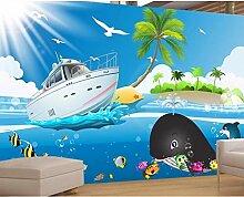 Tapete 3D Foto Wandbild Cartoon Blau Seefisch Boot