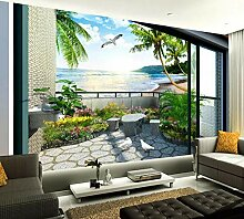 Tapete 3D Fototapete Balkon Garten Meerblick