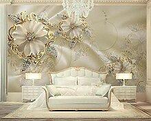 Tapete 3D Fototapete Blumengericht mit goldenem