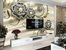 Tapete 3D Fototapete Blumenprägung Mit Juwelen 3D