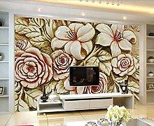 Tapete 3D Fototapete Blumenreliefblattmuster