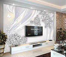 Tapete 3D Fototapete Diamantperlenblumenromantik