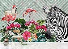 Tapete 3D Fototapete Einfaches Flamingo-Zebra 3D