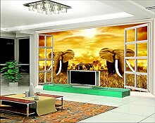Tapete 3D Fototapete Elefant Tapeten 3D Effekt