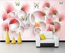 Tapete 3D Fototapete Fantasie Blume Schmetterling
