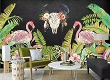Tapete 3D Fototapete Flamingo-Regenwald 3D Effekt