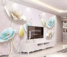 Tapete 3D Fototapete Geprägte Juwelen Und Tulpen