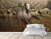 Tapete 3D Fototapete Geprägtes Pferd Tapeten 3D