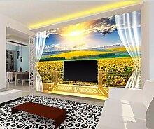 Tapete 3D Fototapete Goldener Balkon Sonnenblume