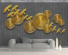Tapete 3D Fototapete Goldenes Modernes Vogelmuster