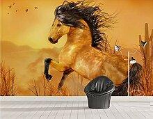 Tapete 3D Fototapete Goldenes Pferd läuft Tapeten