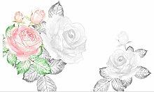 Tapete 3D Fototapete Hand Gezeichnete Rosafarbene