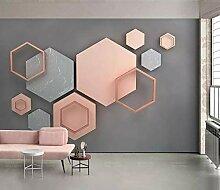 Tapete 3D Fototapete Hexagonales Mosaik Mit