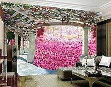 Tapete 3D Fototapete Kirschblütenpfeiler Tapeten