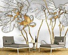 Tapete 3D Fototapete Luxus Goldene Blume Luxus