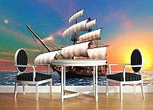 Tapete 3D Fototapete Meer Sonnenaufgang Segelboot