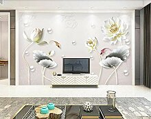 Tapete 3D Fototapete Moderne Reliefblumenperle