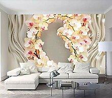 Tapete 3D Fototapete Orchideenblume Tapeten 3D
