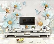 Tapete 3D Fototapete Reliefschmuckblume Frisch