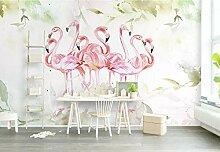 Tapete 3D Fototapete Rosa Flamingo-Aquarellanlage