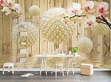 Tapete 3D Fototapete Runde Kugel Orchidee