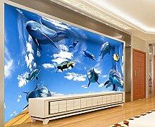 Tapete 3D Fototapete Unterwasser-Delfine Tapeten