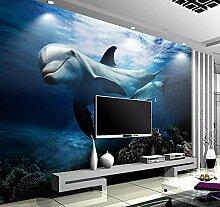 Tapete 3D Fototapete Unterwasser- Delfine Tapeten