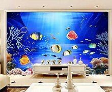 Tapete 3D Fototapete Unterwasserweltfischschule
